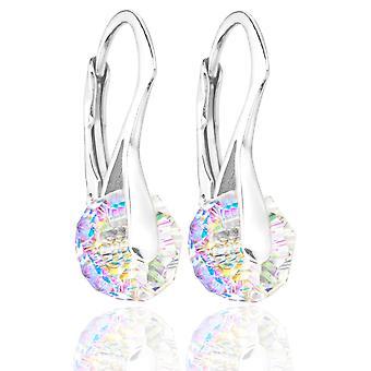 Ah! Biżuteria Aurore Boreale Briolette kryształy Swarovski kolczyki, srebro