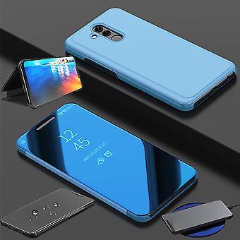Für Huawei P30 Lite Clear View Spiegel Mirror Smartcover Blau Schutzhülle Cover Etui Tasche Hülle Neu Case Wake UP Funktion