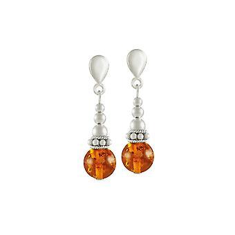 Eternal Collection Bella Amber Silver Tone Drop Pierced Earrings