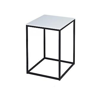 Gillmore White Glass And Black Metal Contemporary Square Side Table