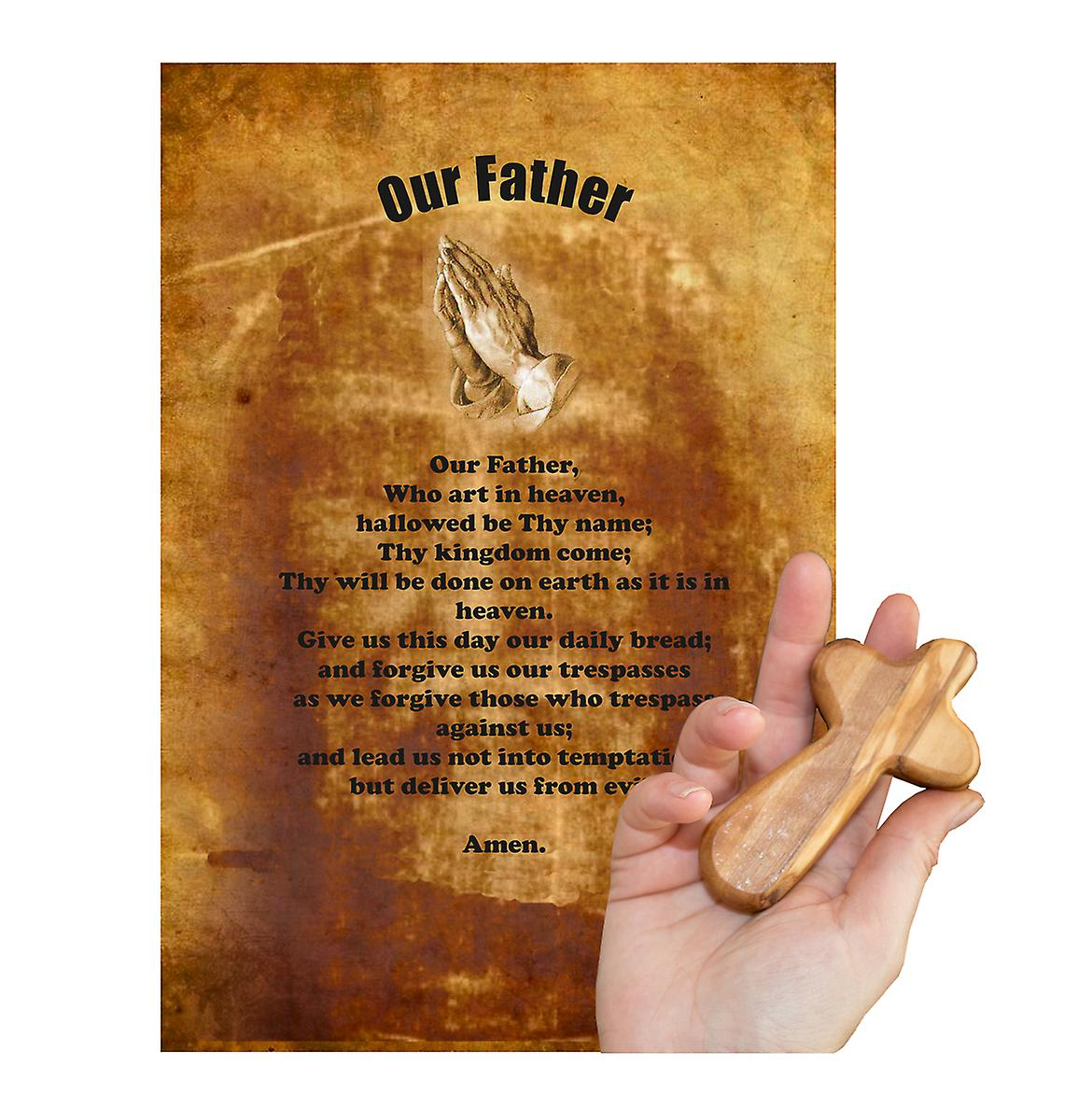 Our Father Carved Olive Wood Comfort Cross Religious Keepsake Hand Made In Bethlehem