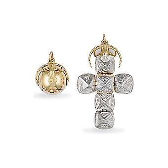Jewelco London Men-apos;s 9ct Yellow Gold and Sterling Silver Golden Globe Cross Masonic Orb Ball Pendant