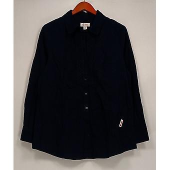 Denim & Co. kvinder ' s øverste knap foran skjorte m/blonde bib navy blå A230277