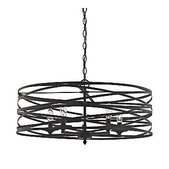 Vorticy 5-light chandelier in oil rubbed bronze with metal cage elk lighting