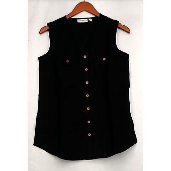Susan graver top linnen Blend mouwloos knop front shirt zwart A265837