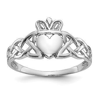 posteriore di 14 k oro bianco lucido aperta Mens Claddagh Ring - 2,7 grammi - Dimensioni 9.5