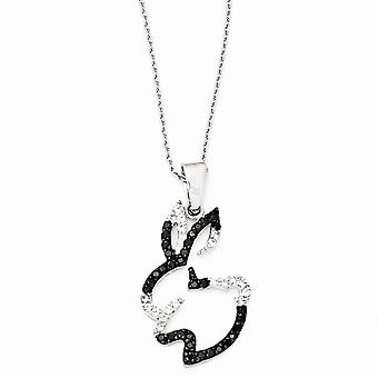 925 Sterling Silver Black rhodium Rhodium plated Fancy Lobster Closure CZ Cubic Zirconia Simulated Diamond Bunny Necklac