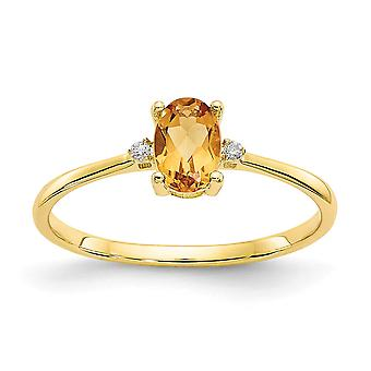 10k Yellow Gold Oval Polished Prong set Diamond Citrine Ring Size 6 Jewelry Gifts for Women