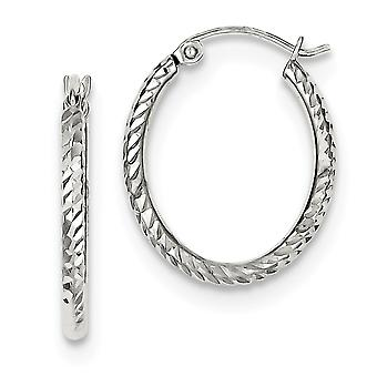 925 Sterling Silver Hinged post Rhodium-plated Rhodium Plated Sparkle-Cut Oval Hoop Earrings
