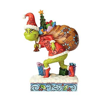 Dr. Seuss The Grinch Tip Toeing with Bag of Gifts Figurine