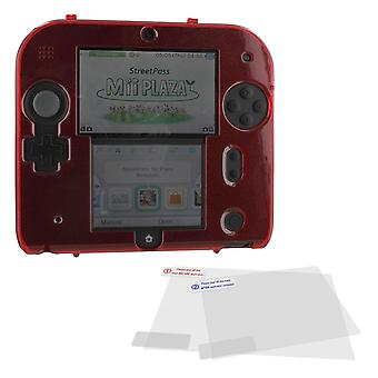 Polycarbonate plastic hard case & screen protector kit for nintendo 2ds - red