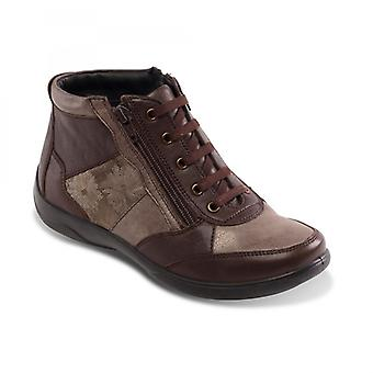 Padders Piccolo Ladies Leather Extra Wide (2e/3e) Boots Brown