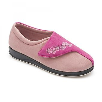 Padders Hug Ladies Microsuede Extra Wide (2e) Slippers Pink