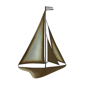 Brown and Galvanized Metal Art Sailboat with Tassel Flag Wall Sculpture