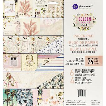 Prima Marketing Double-Sided Paper Pad 12-quot;X12-quot; 24/Pkg-Golden Coast, 6 Foiled Designs/4 Chacun