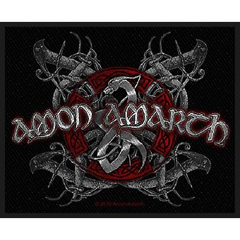 Amon Amarth Patch Viking Dog Band Logo Official New Black 8cm x 10cm Woven