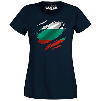 Realiteit glitch verscheurd Bulgarije vlag Womens t-shirt