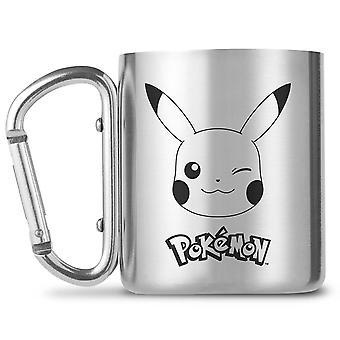 Pokémon Pickachu Becher Edelstahl mit Karabiner-Henkel silberfarben, schwarz bedruckt, 100 % Edelstahl, Füllmenge ca. 230 ml.