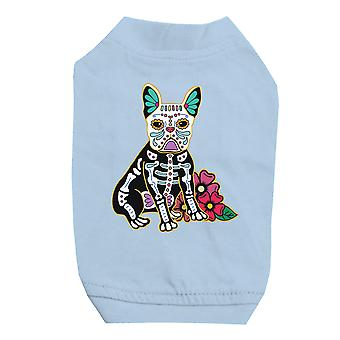 Frenchie Day Of Dead Funny Halloween Cute Sky Blue Pet Shirt for Small Dogs