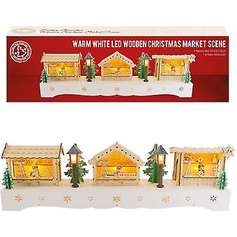The Christmas Workshop Battery Operated 9 LED Wooden Christmas Market Scene, Wood, Pine