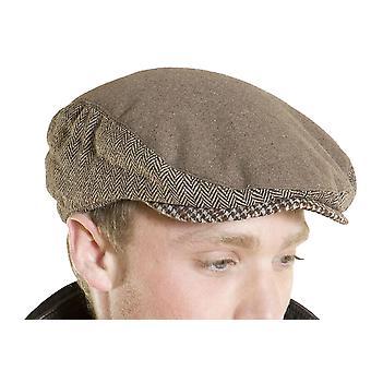 Mens Quality Melton Flat Cap Fashion Hat Herringbone Tweed Panels