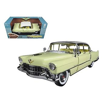 1955 Cadillac Fleetwood Series 60 Yellow with White Roof 1/18 Diecast Model Car par Greenlight