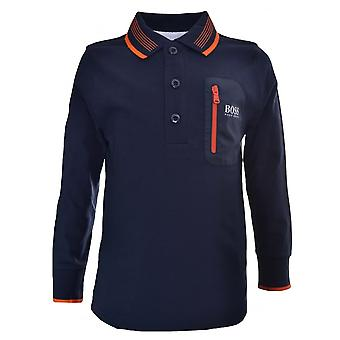 Hugo Boss Boys Hugo Boss Kids Navy Blue Long Sleeved Polo Shirt