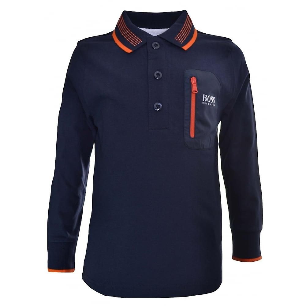 Hugo Boss Kids Chest Logo Long Sleeve T-Shirt Navy