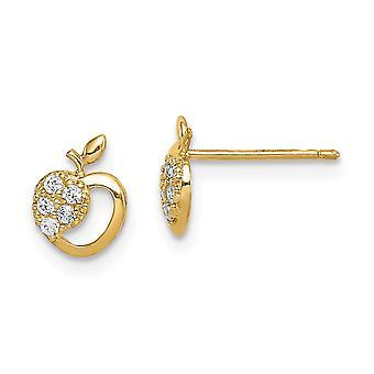 14k Madi K CZ Cubic Zirconia Simulated Diamond Apple Post Earrings Jewelry Gifts for Women