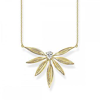 Thomas Sabo Magic Garden Gold & weiß Zirkonia große Blätter Halskette