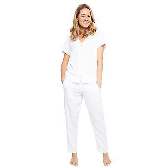 サイバージャミーズ1370女性'sノラローズポルティアホワイトリーフプリントモーダル刺繍パジャマセット