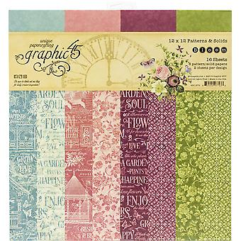 "Gráfico 45 Doble - Papel lateral Pad 12""X12"" 16/Pkg - Bloom, 8 Designs/2 Each"