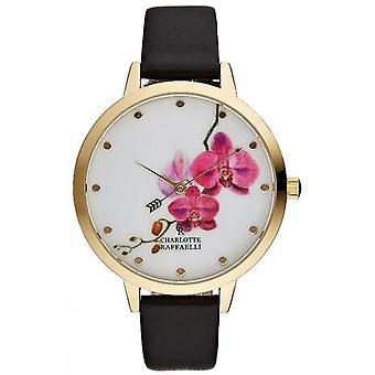 Charlotte Rafaelli CRF023 horloge - watch Armband leder Floral zwart vrouw