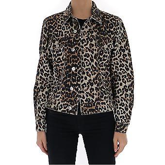 Veste ex-expiée Ganni F4302943 Femmes-apos;s Leopard Cotton Outerwear