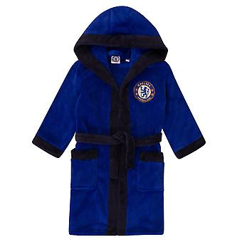 Chelsea FC Boys Dressing Gown Robe Hooded Fleece Kids OFFICIAL Football Gift
