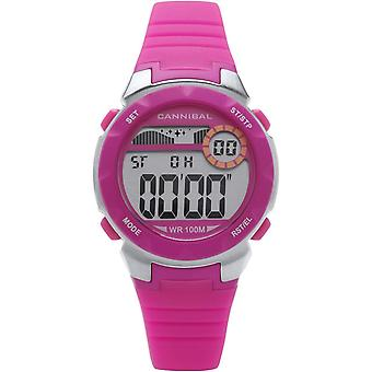 Cannibal Active Girl's Digital Chronograph Hot Pink Rubber Strap Watch CD273-14