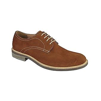 Roamers Tan Ruskind 4 Eye Plain Derby Sko Tekstil / læder Foring Læder Sock Tpr Sole