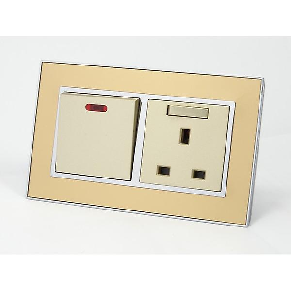 I LumoS AS Luxury Gold Mirror Glass Double 20A Switch with Switched 13A UK Socket