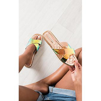 IKRUSH Womens Melanie Iridescent Crossover Slip On Sandals