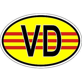 Pegatina pegatina oval código de bandera país VD Vietnam del Sur