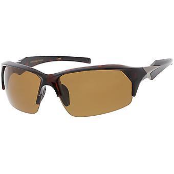 Halb randlose Wrap Sport Sonnenbrille polarisiert Rechteck-Objektiv 66mm