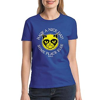 Grumpy Cat Nice Day Women's Royal Blue Funny T-shirt