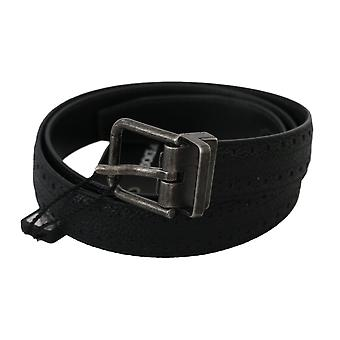 Dolce & Gabbana Black Calfskin Leather Silver Buckle Belt BEL60345-85