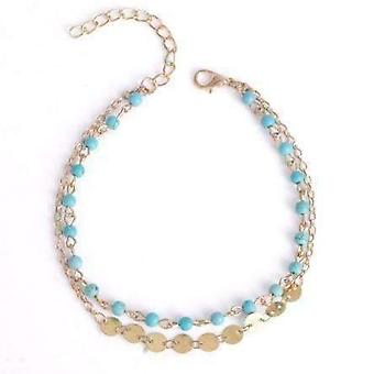 Double chain turquoise bead and gold coin ankle bracelet