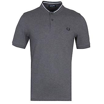 Fred Perry Bomber Collar Mid Grey Marl Pique Shirt