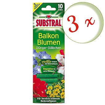 Sparset: 3 x SUBSTRAL® fertilizer rods for balcony flowers, 10 pieces