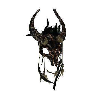 Metallic Tribal Skull Horned Demon con piume Adulti Halloween Costume Maschera