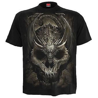 Spiraal-Draco schedel-mens t-shirt zwart