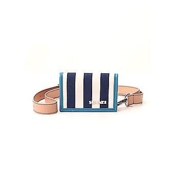 Sunnei W02stsk Men's Portefeuille en tissu blanc/bleu