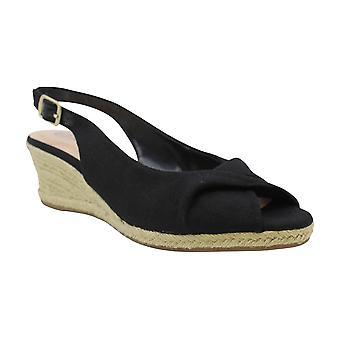 Bella Vita Women's Sylvie II Espadrille Sandal Shoe, Black Linen, 11 N US